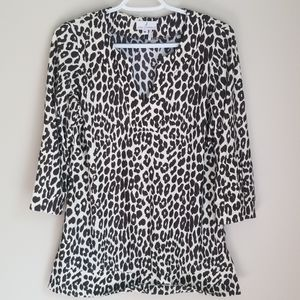 Jude Connally Leopard Print 3/4 Sleeve Tunic Top